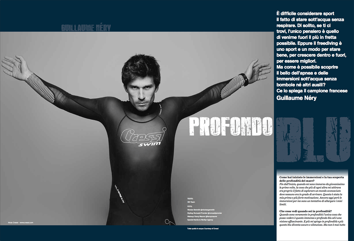 Guillaume Nery, men'shealth, magazine, italy, diving, worldchampion, Nicolas Gerardin, photography, cressi swim