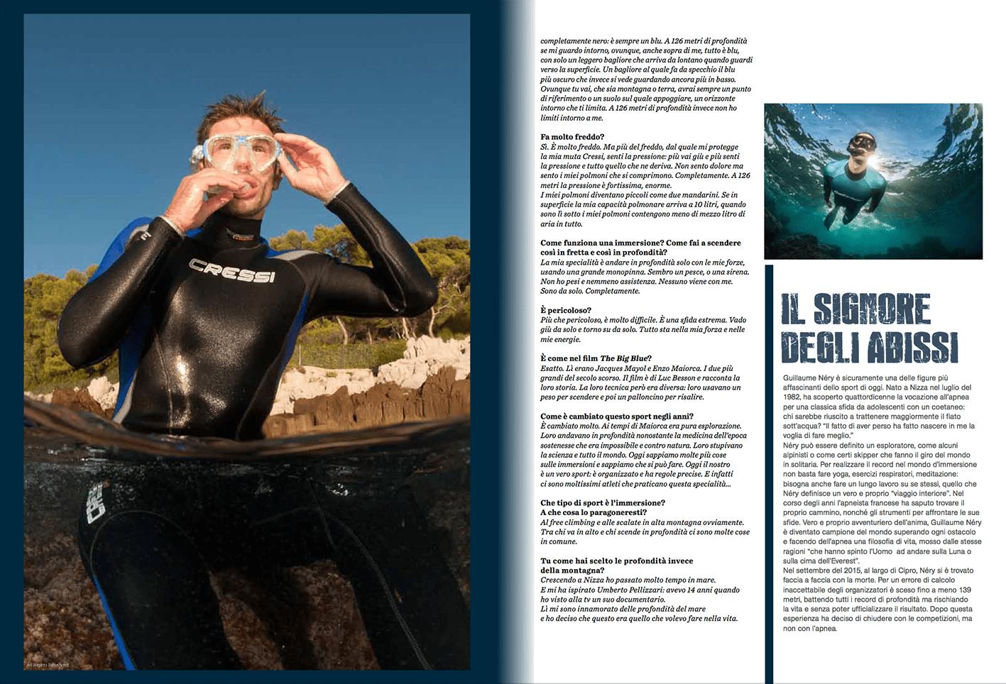 Guillaume Nery, men'shealth, magazine, italy, diving, worldchampion, Nicolas Gerardin, photography,
