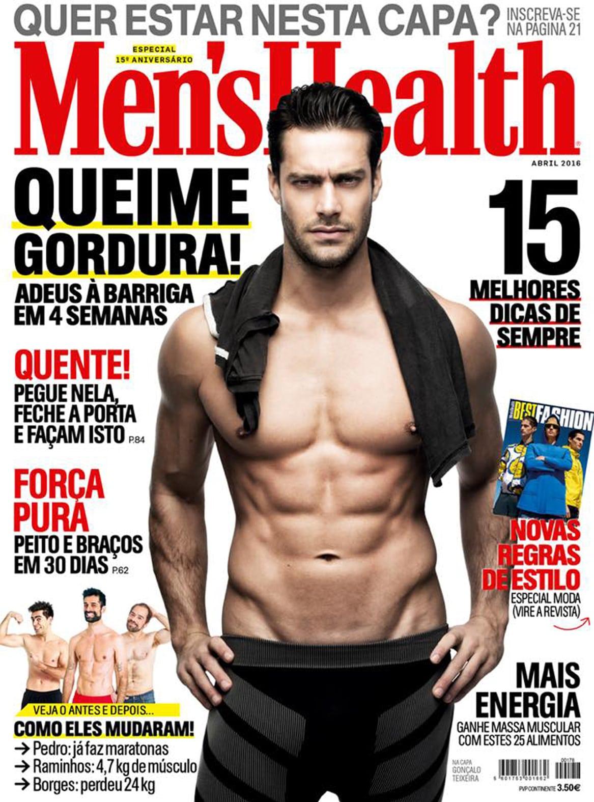 Menshealth, Cover, Gonçalo Teixeira magasine topmodel fashion, mode, homme, sante,