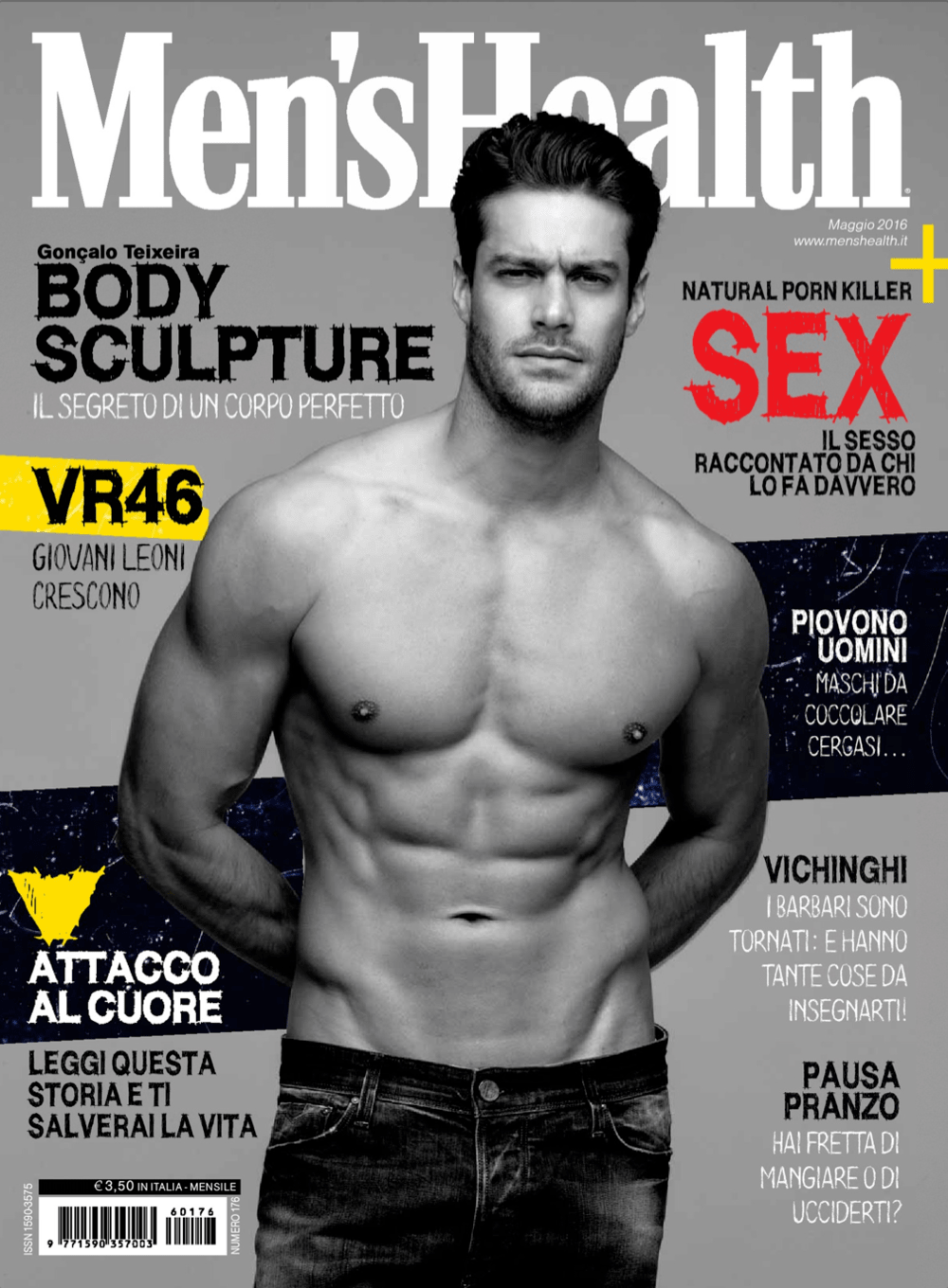 Menshealth, Cover, Gonçalo Teixeira magasine topmodel fashion, mode, homme, sante,