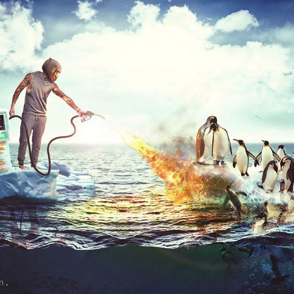 photoshop, montagephoto, graphisme, total, pingouin, pingouinbrule, retouchephoto, antartique, rechauffementclimatique, ecologie, climat, consomation, montageps,
